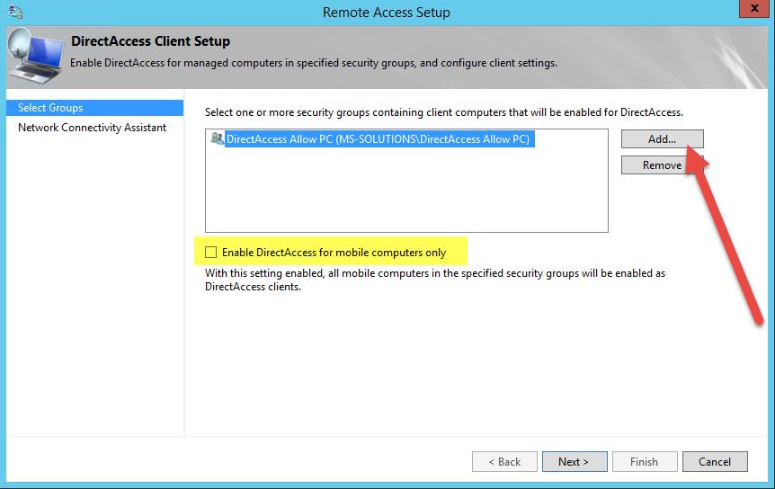 Отключение Enable DirectAccess for mobile computers only и изменение группы безопасности