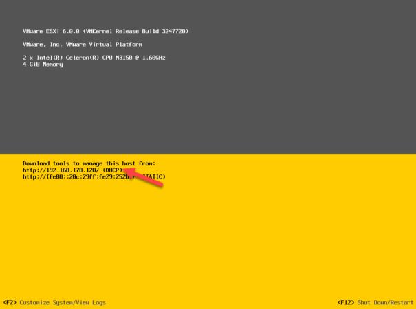 URL для подключения к VMware ESXi