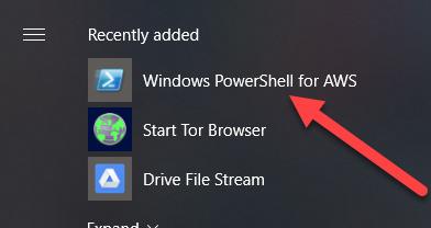 Установленый AWS Tools для PowerShell