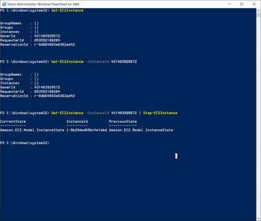 Выключение инстанса EC2 используя PowerShell