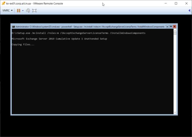 Начало установки Exchange Server