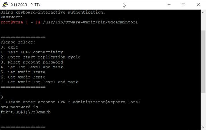 Сброс или восстановление пароля администратора в VMware vCenter