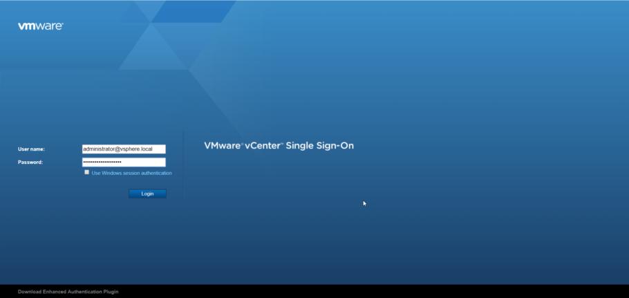 Вход в VMware VCSA