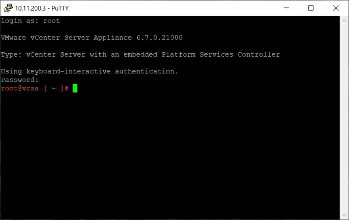 Вход в VMware VCSA по SSH