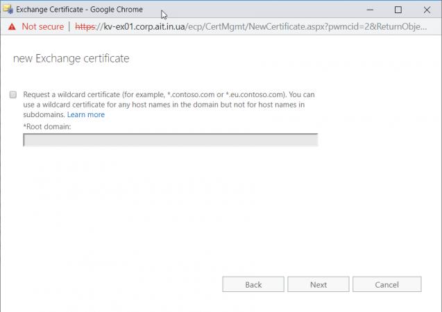 Возможность создания wildcard сертификата Exchange