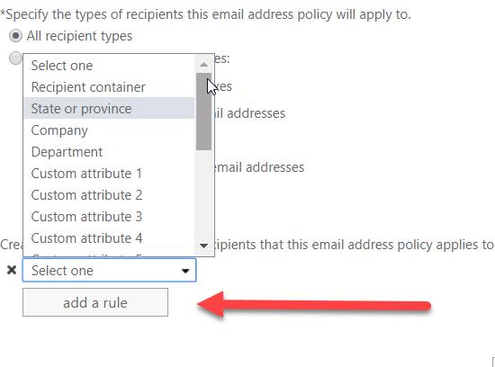 Выбор области применения политики адресов электронной почты Exchange