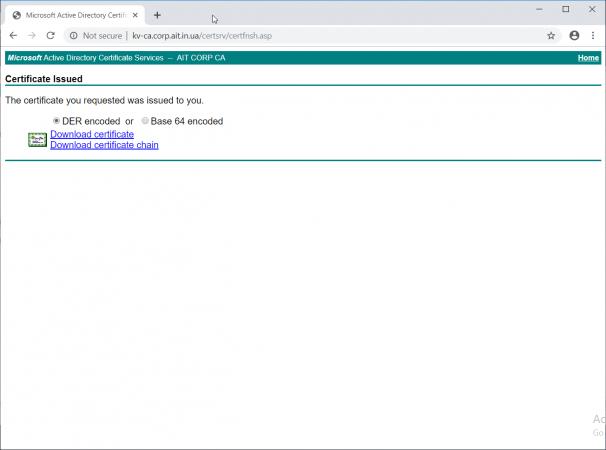 Загрузка сертификата с Certificate Enrollment Web Service